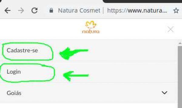 Logar ou criar conta no site Natura