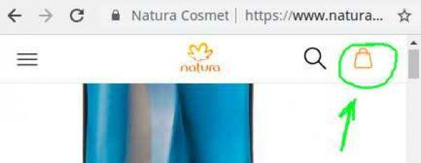 Sacola virtual do site Natura