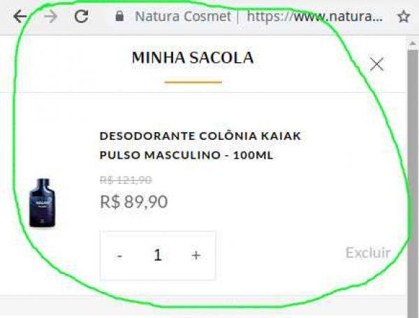 Produtos Natura na sacola virtual